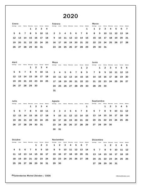 Calendario 2020, 33DS. Planificación para imprimir gratis.