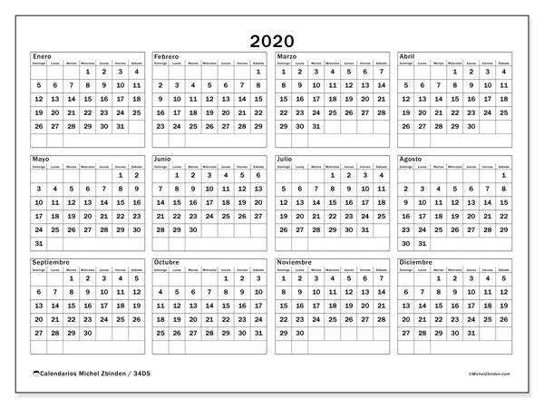 Calendario Anual 2020 Para Imprimir Gratis.Calendario 2020 34ds Michel Zbinden Es