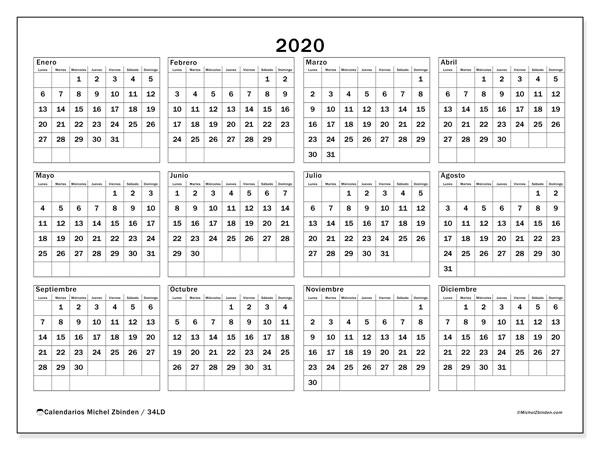Calendario Chile 2020.Calendarios Anuales 2020 Ld Michel Zbinden Es