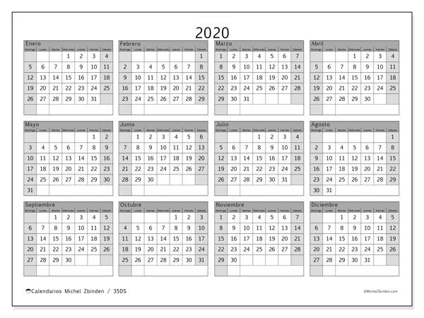 Calendario 2020, 35DS. Calendario para imprimir gratis.
