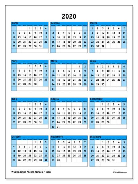 Calendario Anual 2020 Para Imprimir Gratis.Calendario 2020 40ds Michel Zbinden Es