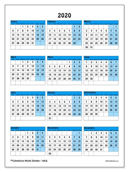 Calendario Anual 2020 Para Imprimir Gratis.Calendario 2020 40ld Michel Zbinden Es