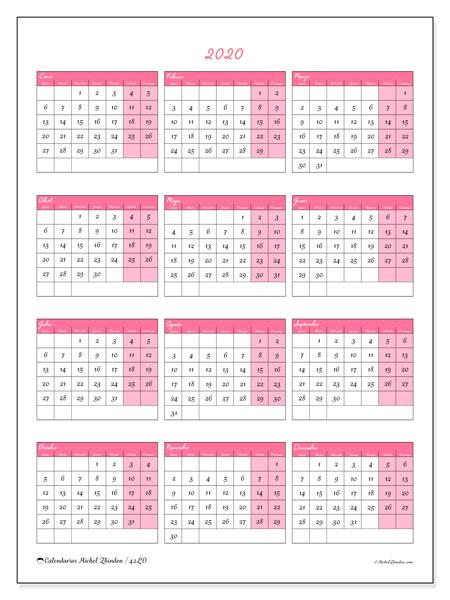 Calendario Del Ano 2020 En Espanol.Calendario 2020 42ld Michel Zbinden Es