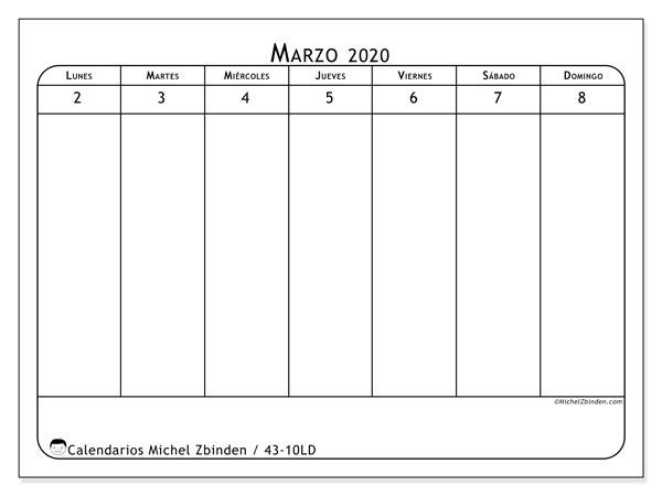Calendario 2020, 43-10LD. Calendario mensual para imprimir gratis.