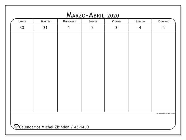 Calendario 2020, 43-14LD. Calendario para imprimir gratis.