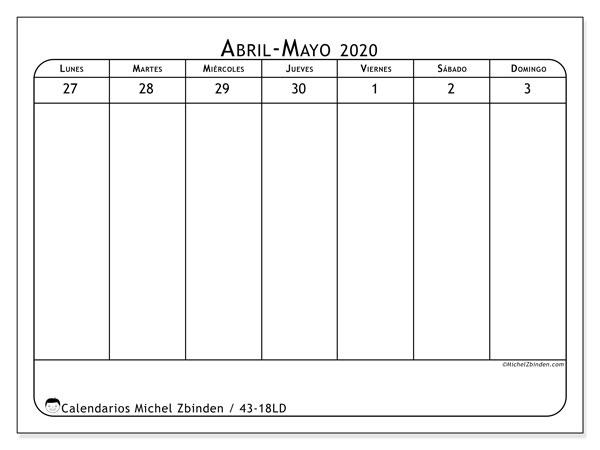 Calendario 2020, 43-18LD. Almanaque para imprimir gratis.