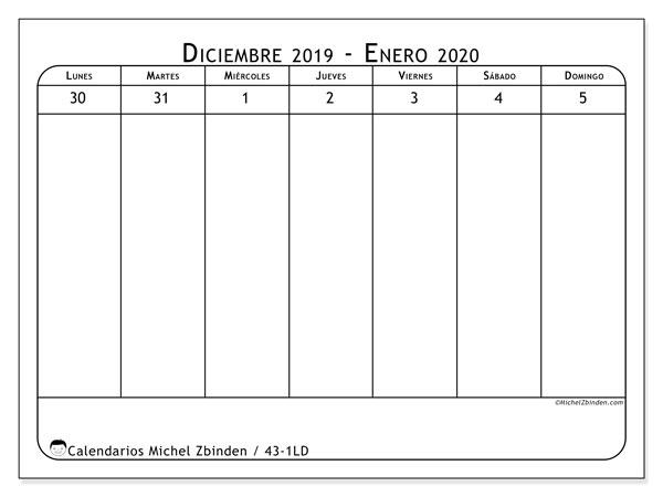 Calendario 2020, 43-1LD. Calendario para el mes para imprimir gratis.