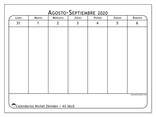 Calendario 2020, 43-36LD. Calendario gratuito para imprimir.