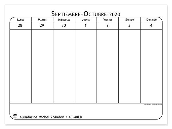 Calendario 2020, 43-40LD. Almanaque para imprimir gratis.