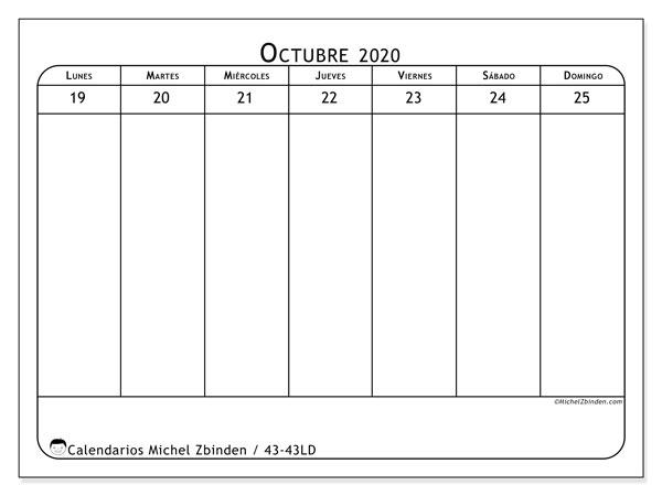 Calendario 2020, 43-43LD. Planificación para imprimir gratis.