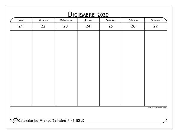 Calendario 2020, 43-52LD. Calendario mensual para imprimir gratis.