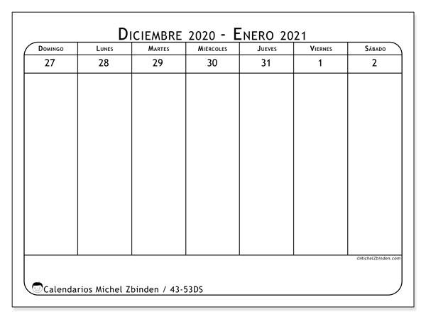 Calendario 2020, 43-53DS. Calendario para el mes para imprimir gratis.