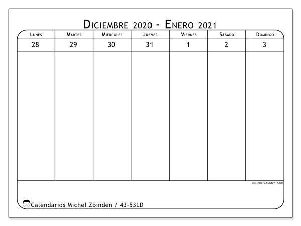Calendario 2020, 43-53LD. Almanaque para imprimir gratis.