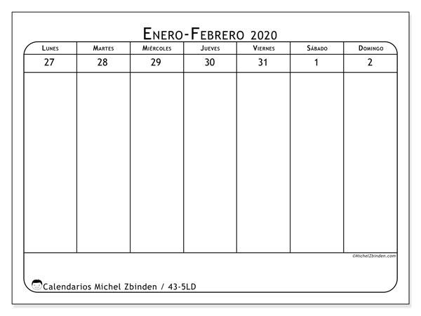 Calendario 2020, 43-5LD. Calendario imprimible gratis.