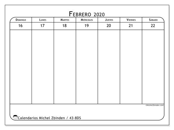 Calendario 2020, 43-8DS. Calendario para imprimir gratis.