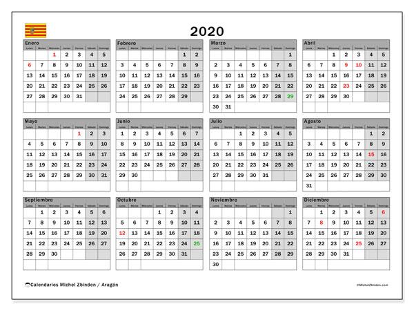 Calendario 2020, con días feriados de Aragón. Calendario para imprimir gratis con días festivos.
