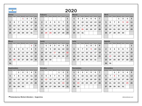 Calendario 2020 Gratis Con Foto.Calendario Argentina 2020