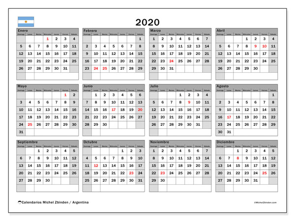 Calendario 2020 Portugues Com Feriados.Calendario 2020 Argentina Michel Zbinden Es