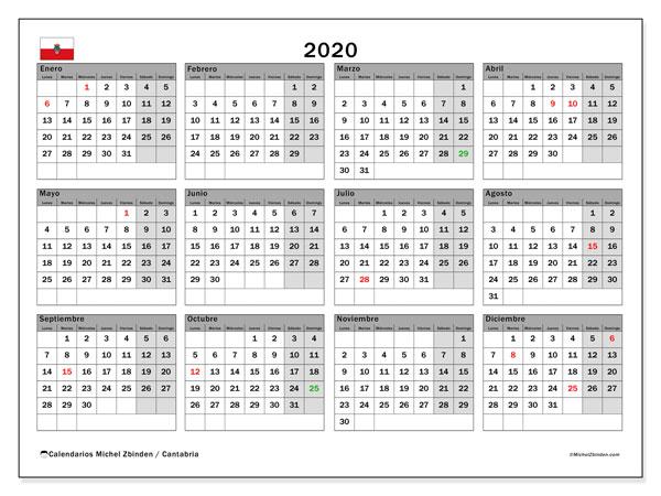 Calendario Festivo Espana 2020.Calendario 2020 Cantabria Espana Michel Zbinden Es