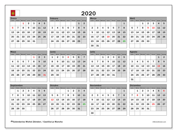 Calendario Vacaciones.Calendario 2020 Castilla La Mancha Espana Michel Zbinden Es