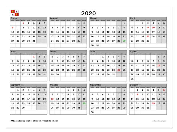 Calendario 2020, con días feriados de Castilla y León. Calendario para imprimir gratis con días festivos.