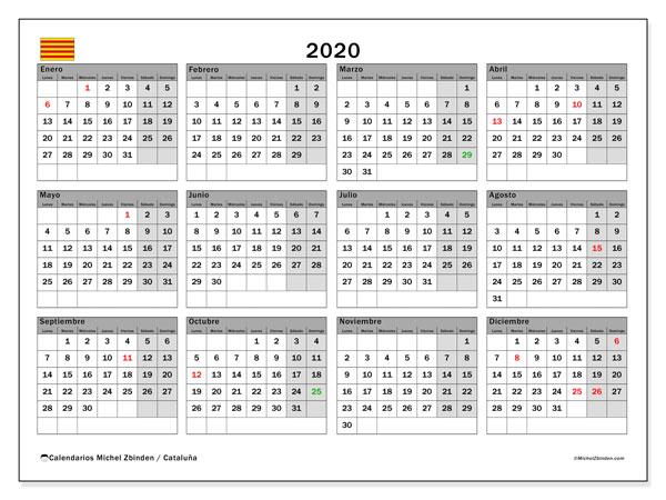 Calendario 2020, con días feriados en Cataluña. Calendario vacaciones y festivos para imprimir gratis.