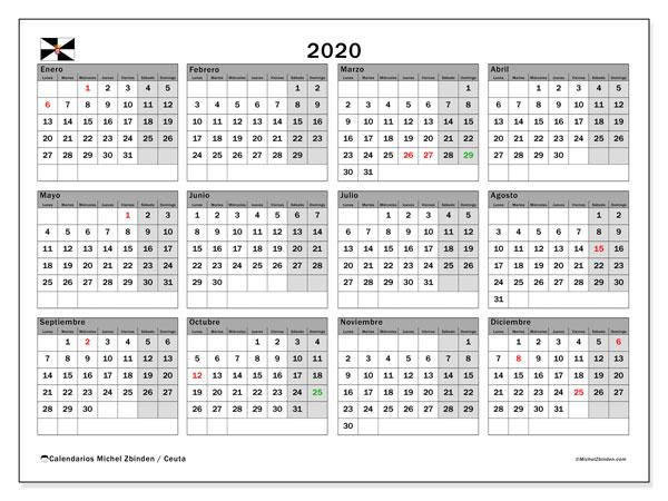 Calendario 2020, con días feriados en Ceuta. Calendario vacaciones y festivos para imprimir gratis.