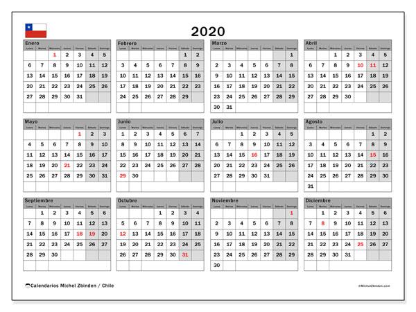 Calendario 2020 Portugues Com Feriados.Calendario 2020 Chile Michel Zbinden Es