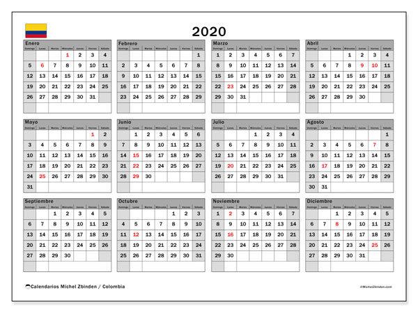 Calendario Escolar 2020 Colombia.Calendario 2020 Colombia Michel Zbinden Es
