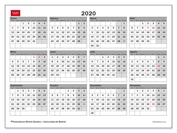 Calendario 2020, con días feriados de la Comunidad de Madrid. Calendario vacaciones y festivos para imprimir gratis.