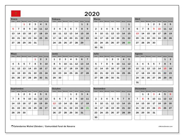 Calendario Escolar Galicia 2020 Y 2019.Calendario 2020 Navarra