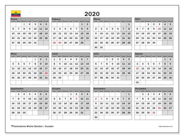 Calendario 2020, con los días feriados para Ecuador. Calendario gratuito para imprimir.