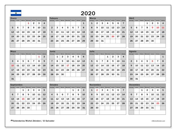 Calendario 2020, con días feriados en El Salvador. Calendario para imprimir gratis con días festivos.