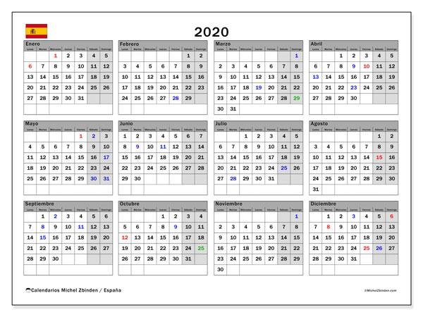 calendarios con d u00edas feriados 2020
