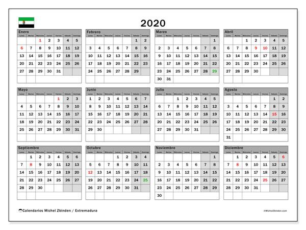 Calendario Laboral 2020 Extremadura.Calendario 2020 Extremadura Espana Michel Zbinden Es