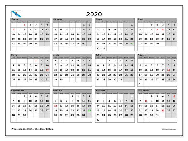 Calendario 2020, con días feriados en Galicia. Calendario vacaciones y festivos para imprimir gratis.