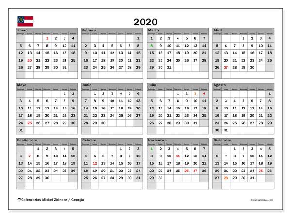 Calendario Gegia.Calendario 2020 Georgia Ee Uu Michel Zbinden Es