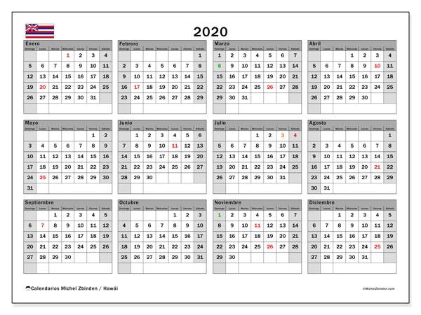Calendario 2020, con días feriados en Hawái. Calendario para imprimir gratis con días festivos.