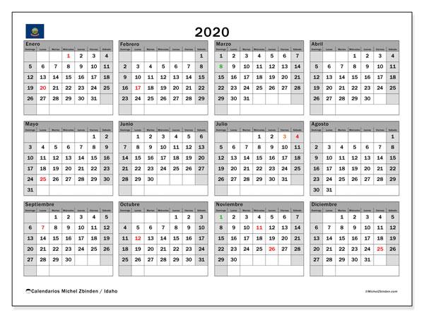 Calendario 2020, con días feriados de Idaho. Calendario vacaciones y festivos para imprimir gratis.