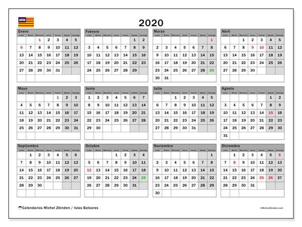 Calendario 2020, con días feriados en las Islas Baleares. Calendario vacaciones y festivos para imprimir gratis.