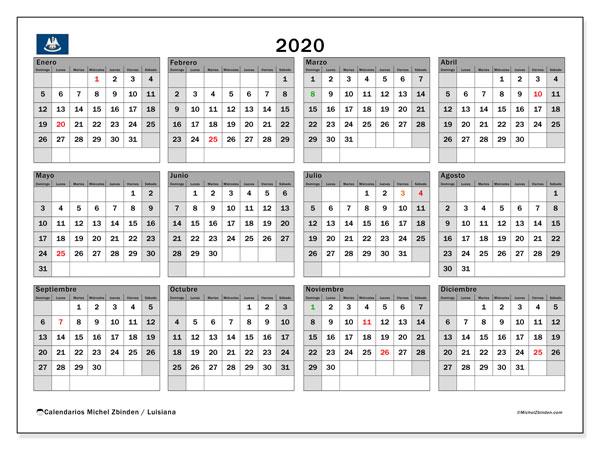 Calendario 2020, con días feriados en Luisiana. Calendario para imprimir gratis con días festivos.
