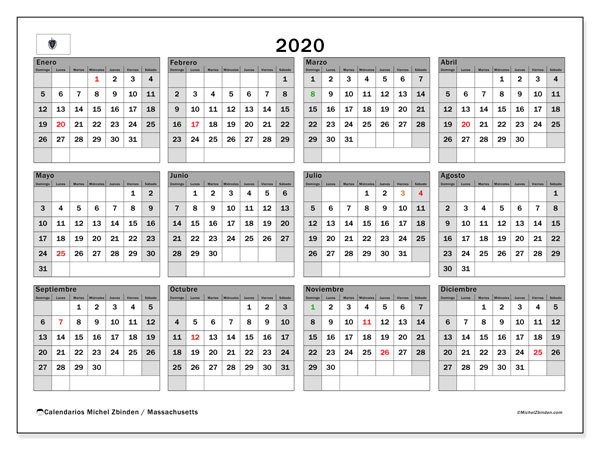 Calendario Massachusetts con días festivos, 2020, calendario anual y Array