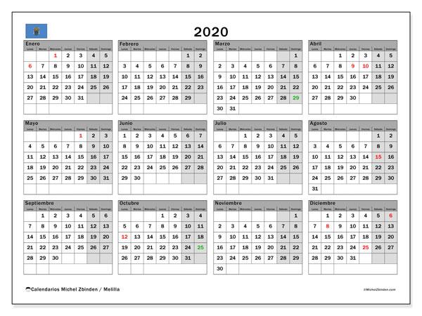 Calendario 2020, con días feriados en Melilla. Calendario para imprimir gratis con días festivos.