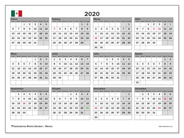 Calendario Agenda 2020 Para Imprimir.Calendario 2020 Mexico Michel Zbinden Es