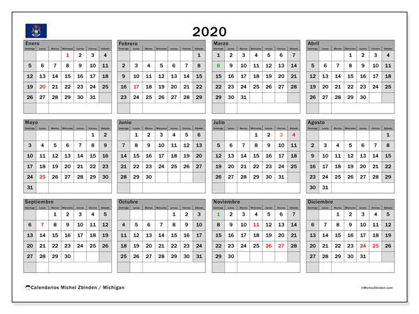 Calendario 2020, con días feriados en Míchigan. Calendario vacaciones y festivos para imprimir gratis.