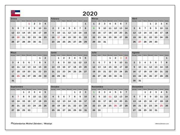 Calendario 2020, con días feriados en Misisipi. Calendario para imprimir gratis con días festivos.