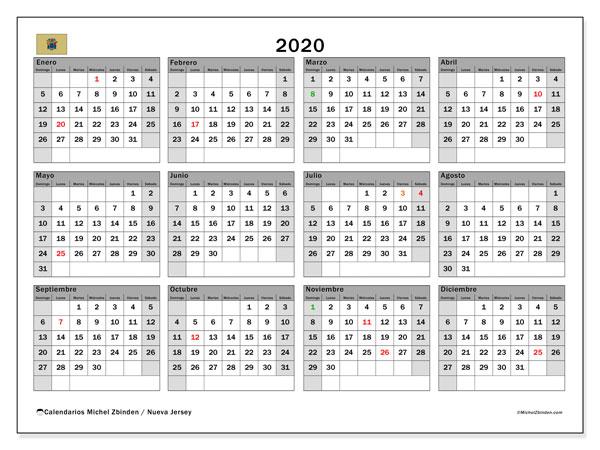 Calendario 2020, con días feriados en Nueva Jersey. Calendario para imprimir gratis con días festivos.