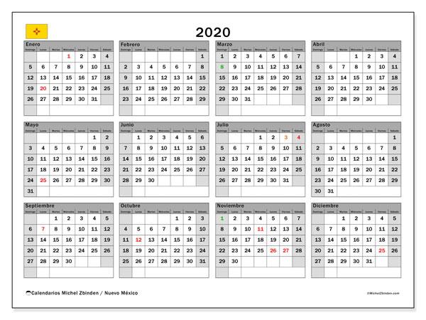 Calendario 2020 Mexico Con Dias Festivos Para Imprimir.Calendario 2020 Nuevo Mexico Ee Uu Michel Zbinden Es