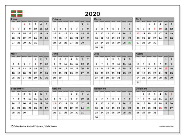 Calendario 2020, con días feriados en el País Vasco. Calendario vacaciones y festivos para imprimir gratis.
