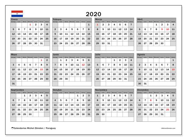 Calendario 2020, con días feriados en Paraguay. Calendario para imprimir gratis con días festivos.